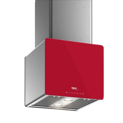 Range Hoods - Glass IK700 Front Red - Front with control
